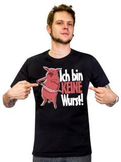 Veganer-T-Shirt für Männer ich bin keine Wurst schwarz-pink-weiss