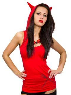 Ärmelloser Kreepsville-Hoodie Teufelskostüm für Damen rot