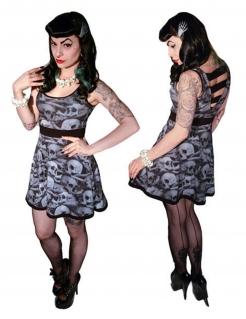 Kreepsville-Kleid Totenkopf-Kleid für Halloween schwarz