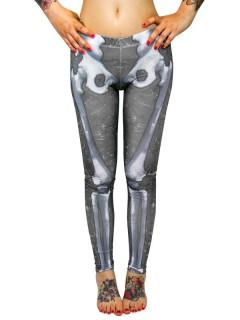 Kreepsville Gothic Leggings Skelett schwarz-grau