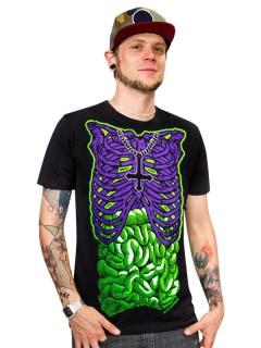 Kreepsville-Shirt Skelett-T-Shirt Halloween-Shirt schwarz-lila-grün