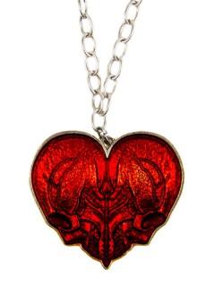 Kreepsville Gothic Halskette Totenschädel Herz rot-silber