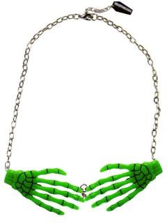 Kreepsville Gothic Halskette Skeletthände grün