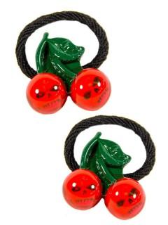 Kreepsville-Haargummis Totenkopf-Kirschen 2 Stück rot-grün-schwarz