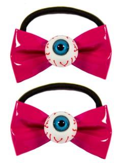 Kreepsville Haargummis mit Augen 2 Stück pink-weiss-blau