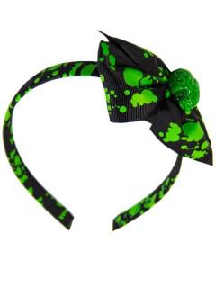 Kreepsville Gothic Haarreif Gehirn Schleife schwarz-grün