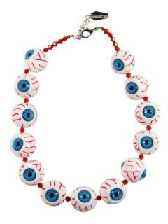 Kreepsville Gothic Halskette Augäpfel weiss-blau-rot
