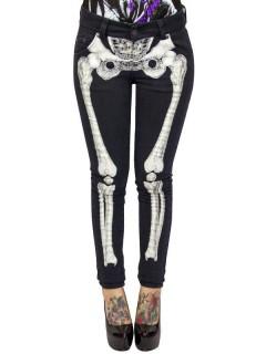 Kreepsville Gothic Jeans Hose Skelett schwarz-weiss