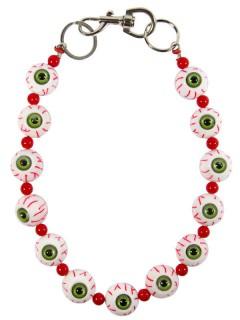 Kreepsville Augen-Kette Accessoire weiss-grün-rot 48cm