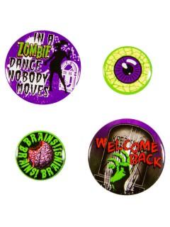 Gothic Zombie-Buttonset Kreepsville 4-teilig bunt