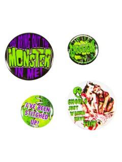 Kreepsville Gothic Monster Button-Set 4-teilig schwarz-grün