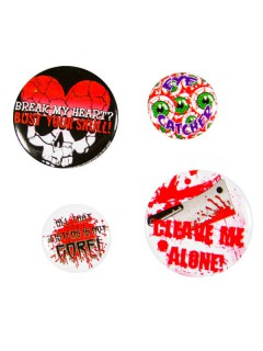 Kreepsville Gothic Horror Button-Set 4-teilig rot-weiss