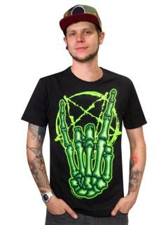 Kreepsville Gothic T-Shirt Skeletthand grün-schwarz