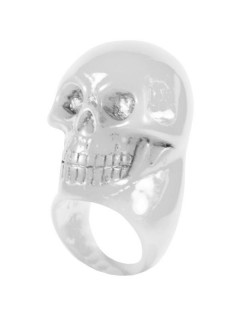 Kreepsville Gothic Ring Totenkopf weiss