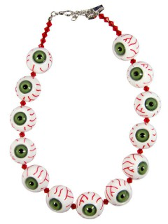 Kreepsville Gothic Halskette Augäpfel weiss-grün-rot