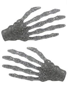 Kreepsville-Haarklammern Glitzernde Skeletthände 2 Stück silber 7cm