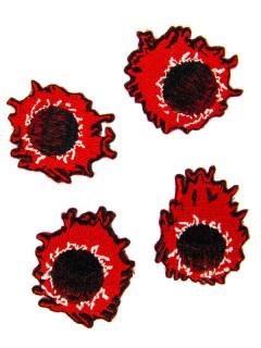 Kreepsville Gothic Aufnäher Einschusslöcher 4 Stück schwarz-rot