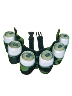 Biergürtel für 6 Dosen Camouflage grün 52cm