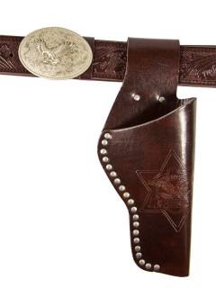 Cowboy Pistolengürtel Adler mit Holster antikbraun 135cm
