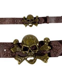 Piratengürtel Totenkopf antikbraun-gold 115cm
