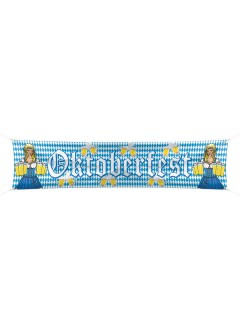 Oktoberfest Straßenbanner Deko blau-weiss 40x180cm