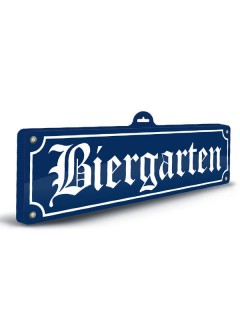Oktoberfest Deko-Schild 3D Biergarten blau-weiss 13x46cm