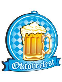Oktoberfest Deko-Schild 3D Bierglas blau-weiss-gelb 48x48cm