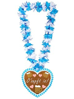 Oktoberfest Hawaiikette Lebkuchenherz blau-weiss-braun
