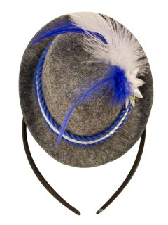 Oktoberfest Haarreif mit Mini-Hut blau-weiss-grau