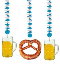 Oktoberfest Hängedeko Set blau-weiss-braun