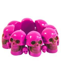 Kreepsville Gothic Armreif Totenkopf pink