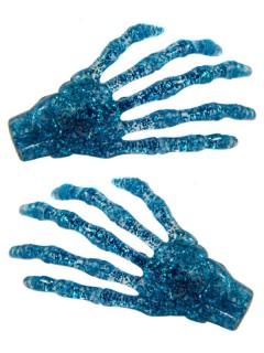 Kreepsville-Haarklammern Glitzernde Skeletthände 2 Stück blau 7cm