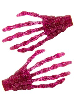 Kreepsville-Haarklammern Glitzernde Skeletthände 2 Stück pink 7cm