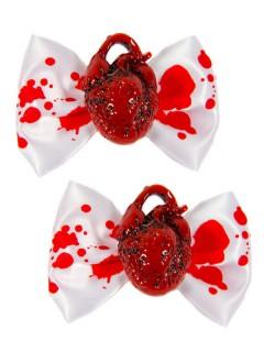 Kreepsville-Haarschmuck Herz-Haarklammern mit Blutflecken 2 Stück weiss-rot