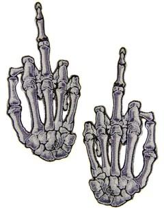 Kreepsville Gothic Aufnäher Skeletthände Mittelfinger grau 2 Stück XL
