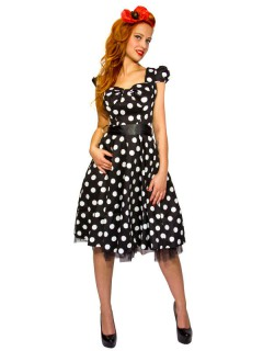 Hearts and Roses Rockabilly 50er Kleid Big Dots schwarz-weiss