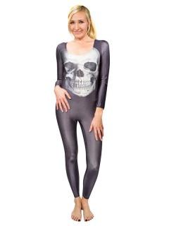 Damen Speedsuit Totenkopf Halloween Damenkostüm blau-grau