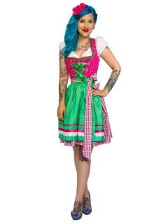Trachten-Kostüm für Damen Dirndl Karo pink-grün
