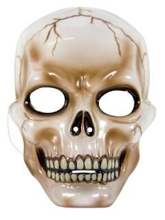 Halloween Maske Totenkopf braun-schwarz-transparent