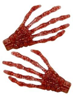 Kreepsville-Haarklammern Glitzernde Skeletthände 2 Stück rot 7cm