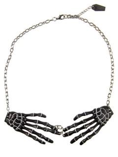 Kreepsville Gothic Halskette Skeletthände schwarz