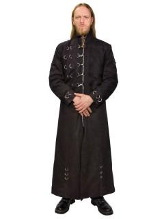 Langer Gothic-Umhang mit Haken und Ringen schwarz-silberfarben