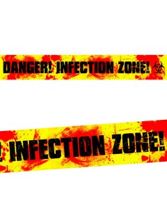 Absperrband DANGER! INFECTION ZONE! Halloween-Deko rot-gelb-schwarz 20mx7,5cm