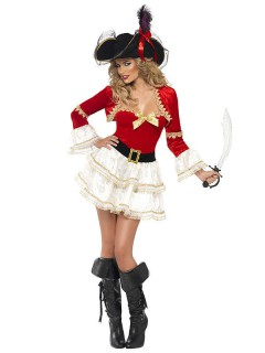 Piraten-Kapitänin Damenkostüm rot-weiss-schwarz