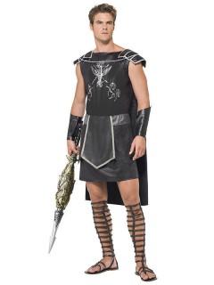 Dunkler Gladiator Antike Kostüm schwarz-silber