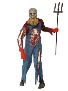 Zombie-Hinterwäldler Halloween-Kostüm blau-rot
