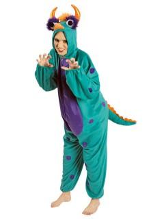 Monster-Kostüm Plüsch-Overall türkis-lila