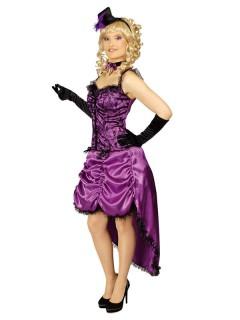 Western Showgirl Damenkostüm Saloon lila-schwarz
