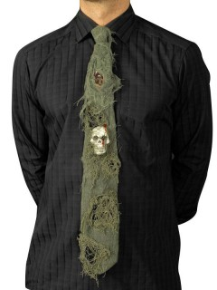 Halloween-Krawatte mit Totenkopf grün-grau