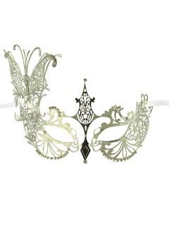 Venezianische Metall-Augenmaske mit Strasssteinen asymmetrisch silber